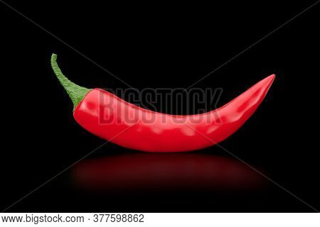 Red Chili Pepper On A Black Background. 3d Rendering
