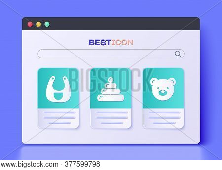 Set Pyramid Toy, Baby Bib And Teddy Bear Plush Toy Icon. Vector