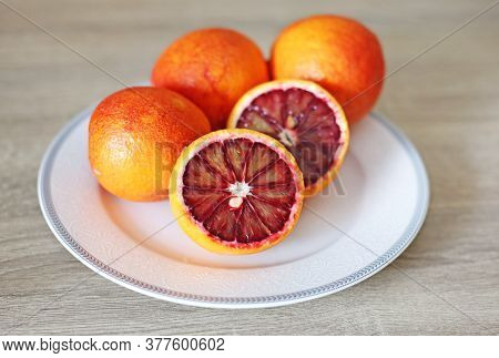 Oranges In The Plate - Blood Orange - Sanguine Orange - Red Orange