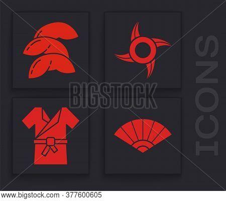 Set Paper Chinese Or Japanese Folding Fan, Chinese Fortune Cookie, Japanese Ninja Shuriken And Japan