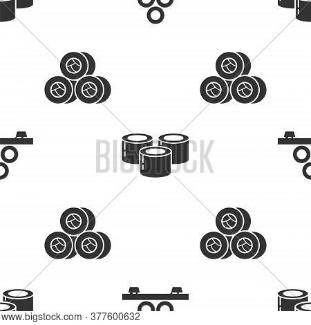 Set Sushi On Cutting Board, Sushi And Sushi On Seamless Pattern. Vector
