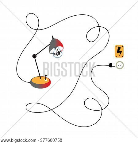 Table Lamp, Wire, Plug, Socket, Warning Danger Yellow Sign With Lightening Isolated On White Backgro