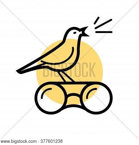 Birdwatching Logo, Bird Is Singing On The Sunset. Simple Line Vector Illustration.