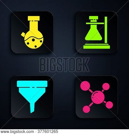 Set Molecule, Test Tube And Flask Chemical, Funnel Or Filter And Test Tube Flask On Stand. Black Squ