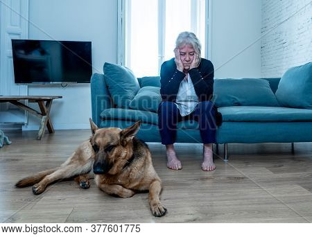 Depressed Lonely Senior Woman In Isolation At Home With Pet Dog As Only Companion