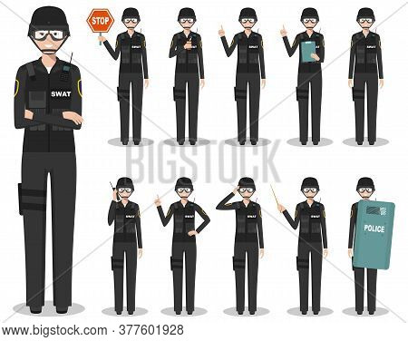 Police People Concept. Detailed Illustration Of American Policewoman, Sheriff, Swat Officer Standing