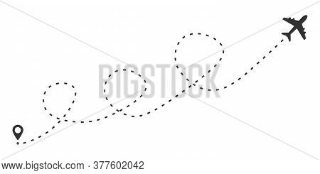 Airplane Line Road Route Icon. Airplane Travel Concept. Isolated Vector Illustration.