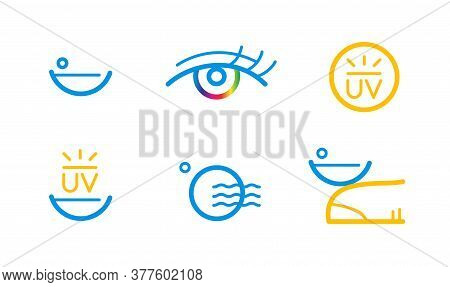 Contact Lens Or Contacts Icon Set. Simple Line Illustration.
