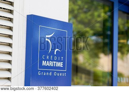 Bordeaux , Aquitaine / France - 07 17 2020 : Credit Maritime With French Logo France Coast And Text