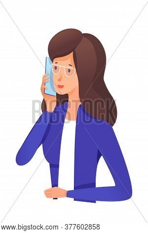 Businesswoman Wearing Formal Suit And Speaking Mobile Phone. Cartoon Office Worker Character. Vector