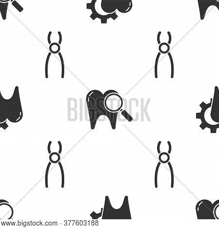 Set Tooth Treatment Procedure, Dental Search And Dental Pliers On Seamless Pattern. Vector