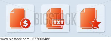 Set Txt File Document, Finance Document And Document With Star. White Square Button. Vector