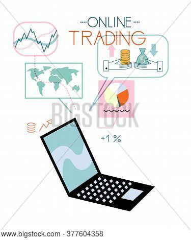 Open Laptop With Trade Financial Stock Market Analysis Icon Isolated On White Background. Online Tra