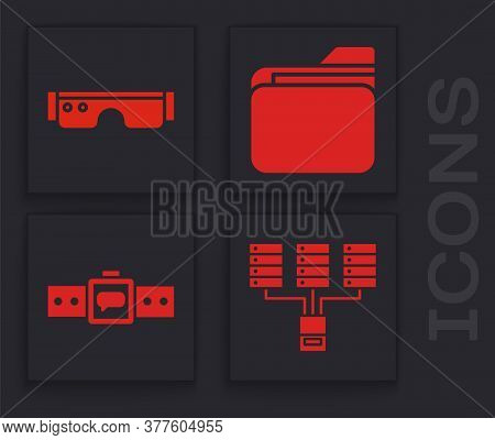 Set Server, Data, Web Hosting, Smart Glasses, Document Folder And Smartwatch Icon. Vector