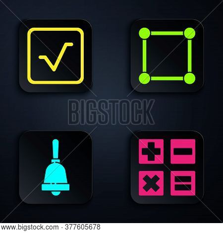 Set Calculator, Square Root, Ringing Bell And Geometric Figure Square. Black Square Button. Vector