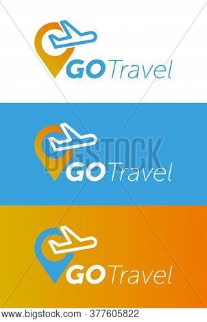 Air Travel Logo Template. Travel Logo. Pin Logo. Location On Map Logo Concept. Plane Icon. Plane Log