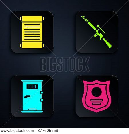 Set Police Badge, Decree, Paper, Parchment, Scroll, Prison Cell Door And Sniper Rifle With Scope. Bl
