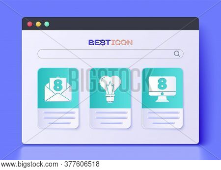 Set Heart Shape In A Light Bulb, Envelope With 8 March And 8 March On Monitore Icon. Vector