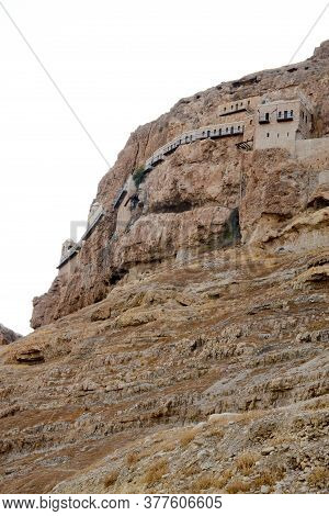 Greek Orthodox Monastery In The Mountain Of Temptation. Pilgrimage To The Holy Land, Vertical Photo