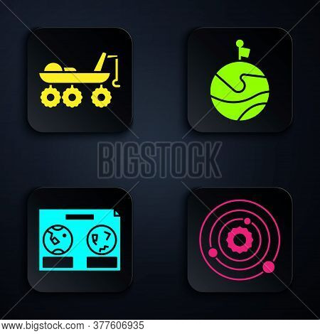 Set Solar System, Mars Rover, Celestial Map Of The Night Sky And Moon With Flag. Black Square Button