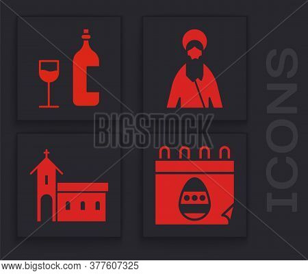 Set Calendar With Easter Egg, Wine Bottle With Glass, Jesus Christ And Church Building Icon. Vector