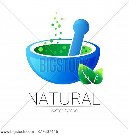Mortar And Pestle Vector Symbol With Green Leaf. Logo Of Nature Herb Illustration. Concept For Ecolo