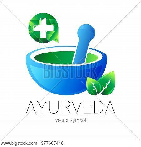 Ayurvedic Creative Vector Logotype Or Symbol. Mortar And Pestle Concept For Ayurveda, Business, Medi