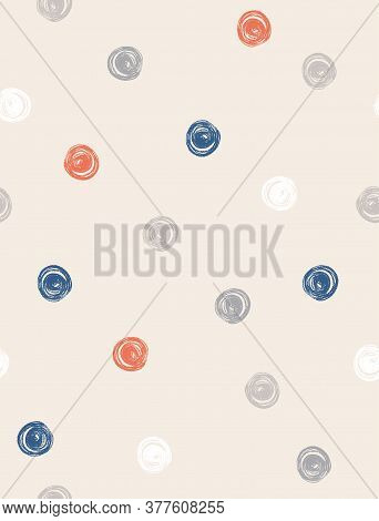 Cute Abstract Chalk Dots Seamless Vector Pattern. Gray, Blue, Red And White Irregular Brush Dots On