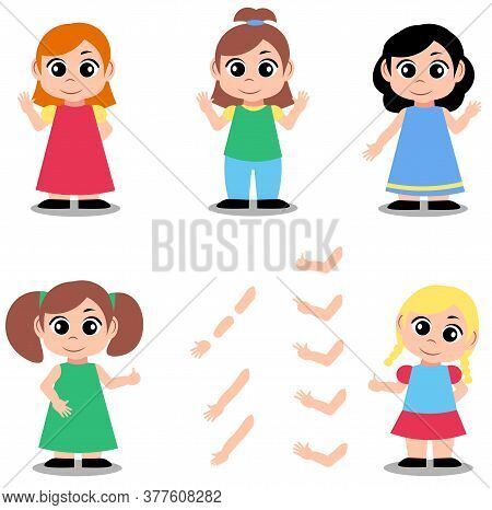 Cute Girl Character Constructor For Animation And Custom Illustrations. Character Creation Set With