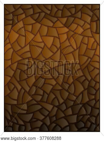 Stained Glass Illustration, Brown Abstract Background, Mosaic Illustration, Sepia