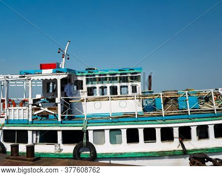 A Cruise Boat On The Ganges River. Boat Ride In River Ganges. For One Day Ferry Trip Ferry Service B