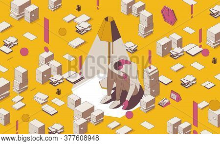Isometric Full Color Outline Underachieving Man In Depression Under A Lamp With Stacks Of Books, Pap