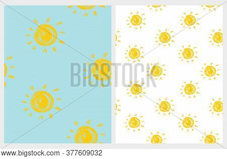 Cute Abstract Chalk Suns Seamless Vector Pattern. Yellow Hand Drawn Irregular Suns Isolated On A Lig