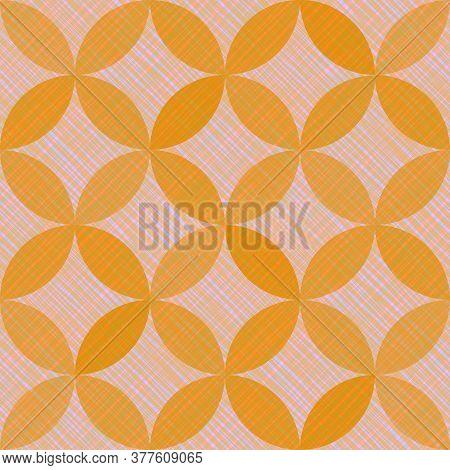 Interlacing Circles Parts Arabic Seamless Vector Pattern. Guatrefoil Flower Orange Medieval Endless