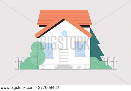 Facade Of Town House Or Cottage In Modern Style. Modern Building With Large Windows Isolated On Whit
