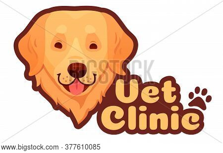 Vet Clinic And Veterinary Logo With Dog Face Sticker. Pet Health Care In Hospital, Domestic Animal M