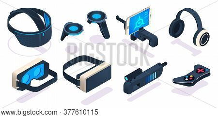 Virtual Reality Gaming Equipment. Digital Device Or Portable Gadget For Games As 3d Glasses, Headset