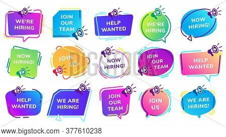 We Are Hiring Banners. Join Our Team, Help Wanted Inscription Set With Megaphone. Vacant Job Positio