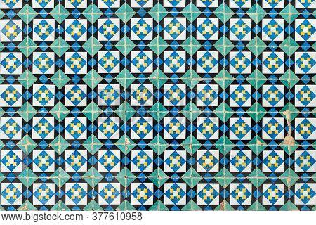 Detail Green, White, Blue Of Portuguese Glazed Tiles.