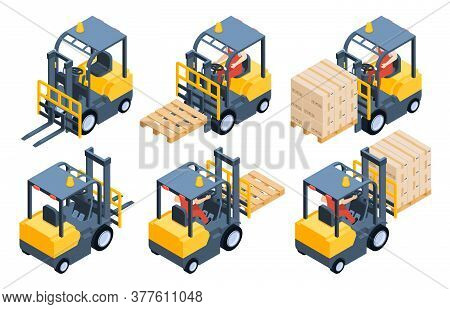 Forklift Truck, Storage Equipment, Storage Racks, Pallets With Boxes. Vehicle For Goods Transportati