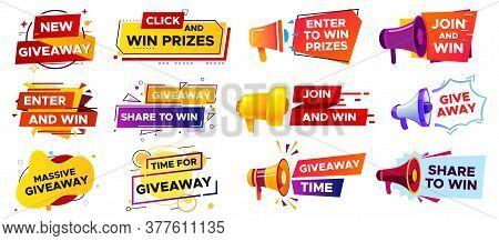 Giveaway Banner With Megaphone. Loudspeaker Announcement Of Competition. Winning Prizes In Contest,