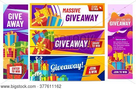 Giveaway Colorful Banners. Giving Gifts, Present Boxes With Ribbons. Winning Award Or Prize In Conte