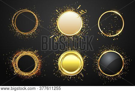 Golden Frames With Confetti. Glaring And Shining Borders In Luxury Style. Empty Space For Text. Mode