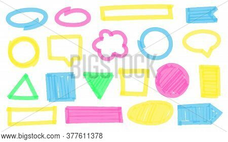 Highlight Marker Frames. Colorful Geometric Figures And Shapes Border As Ellipse, Square, Circle, Re