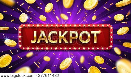 Jackpot Banner With Falling Gold Coins And Confetti. Casino Or Lottery Advertising Template. Winning