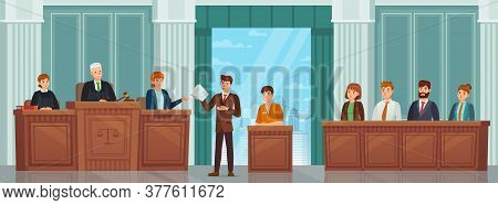 Judicial Process. Public Hearing And Criminal Procedure In Court Or Tribunal With Judges, Lawyer And