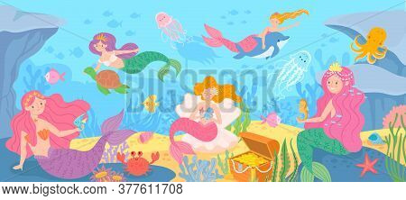 Underwater With Mermaids. Seabed With Mythical Princesses And Sea Creatures, Seaweeds And Seashell,