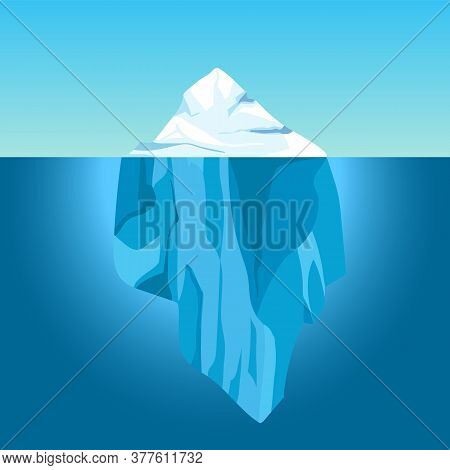 Cartoon Iceberg In Water. Big Iceberg Floating In Ocean With Underwater Part. Clear Water With Ice M
