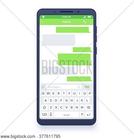 Smartphone Chat. Dialogues Bubbles On Mobile Device Screen With Keyboard, Sending Private Message Cl