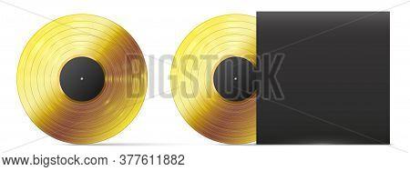 Golden Vinyl Record. Realistic Gold Vinyl Disc, Successful Audio Record Musical Album Award Template